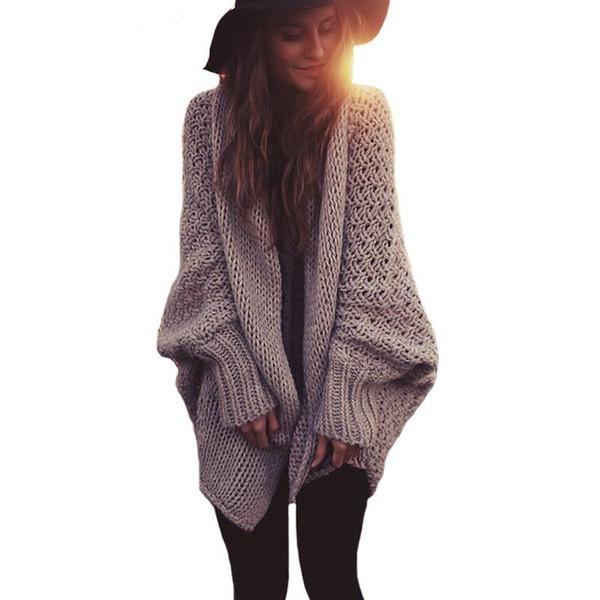 Wholesale- Womens Batwing Knitted Shrug Sweater Women Autumn Winter Fashion Tricot Warm Jumper Sweater Oversize Shawl Cardigan Sweaters