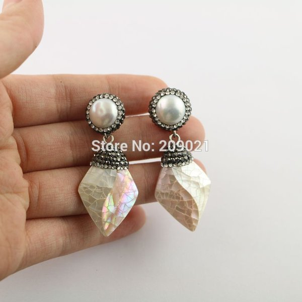 Simple style~ 4pair Pearl with Shell Pave Rhinestone Dangle Earrings Charms Jewelry Finding For Women