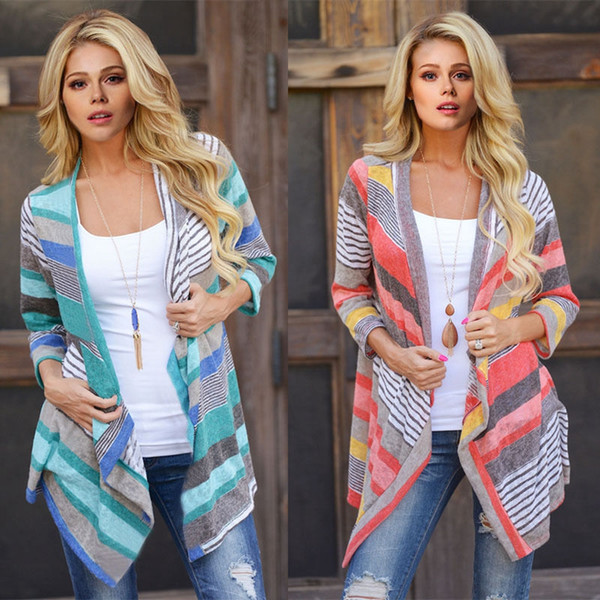 Striped Cardigans Outwear Women Knitted Jacket Vintage Coat Irregular Tops Loose Sweater Casual Blouse Pullover Thicken Jumper OOA2185