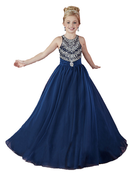 Navy Blue Chiffon Princess Girls Pageant Dresses Ball Gowns 2017 ...