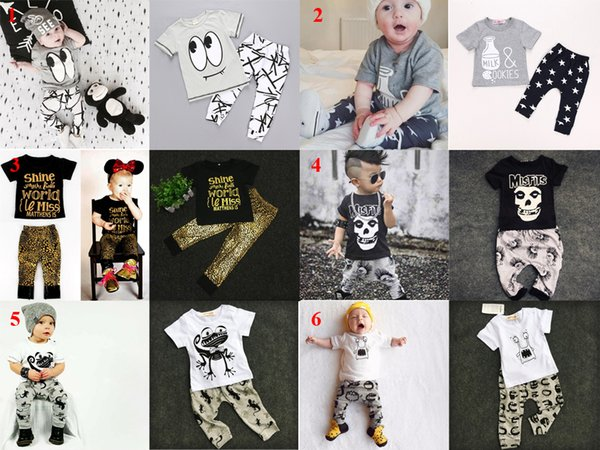 35 Style Ins Baby Clothing Sets Kids Baby Boys Girls Outfits Clothes T-shirt Tops+Pants 2PCS Set Summer Outfits Batman Letter T Shirts Pants
