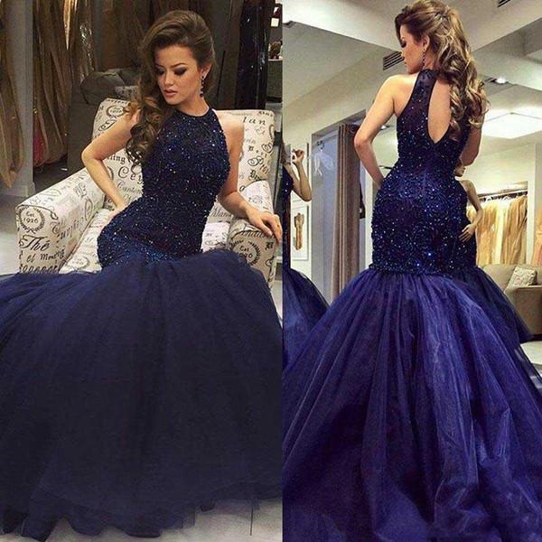 2017 Navy Major Beading Mermaid Prom Dresses Vestidos De Fiesta Halter Neck Keyhole Back Fitted Elegant Evening Party Gowns Reception Wears Kids Prom