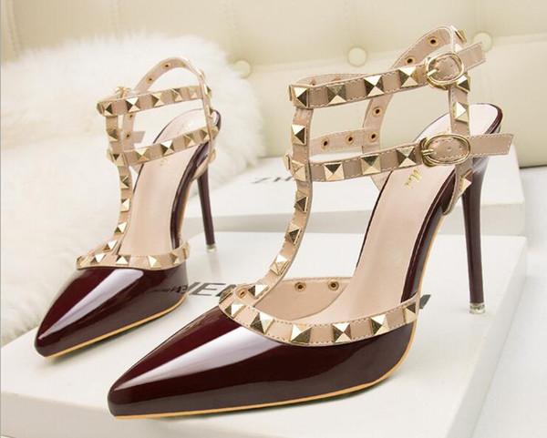 Bombas de mujer Plataforma sexy Tacones altos Correa de tobillo Zapatos de novia con fondo de cuero rojo extremo Zapatos de boda blancos Púrpura 34-39