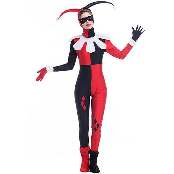 2017 New Arrival Harley Quinn Costumes By DHL Cartoon Circus Clown Jumpsuit Cosplay Halloween Theme Party Clothing Hot Selling