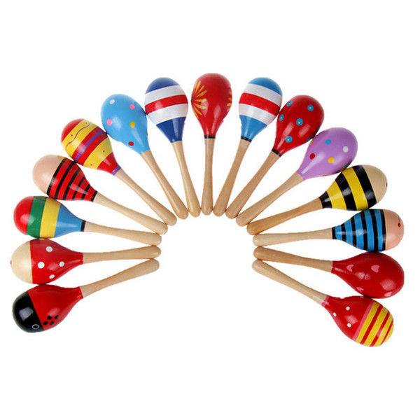 Wholesale- LOVELY Random Color!! 10 PCS Wooden Maraca Wood Rattles Kids Musical Party favor Child Baby shaker Toy