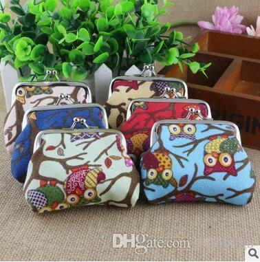 Portable zipper owl Coin Purse Canvas keys wallet Pocket Case cosmetic makeup Sorter Mini Earphone Bag Colorful Headphone Box