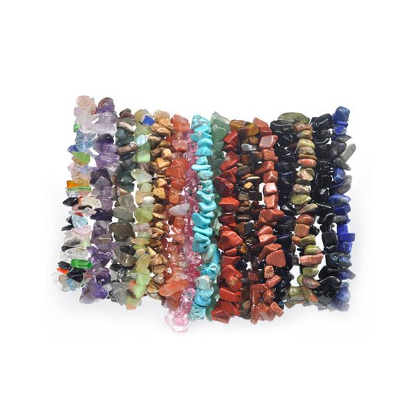 24pc Summer Natural Stone Bracelets Crystal Bracelet Bangles Quartz Gravel Crystal Beads Jewelry Bracelet Men And Women
