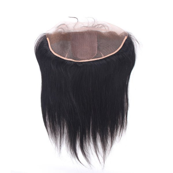 Straight Peruvian Human Hair Silk Base Lace Frontal Closure 13*4 Unprocessed Virgin Hair Natural Color Dyeable Natural Hairline