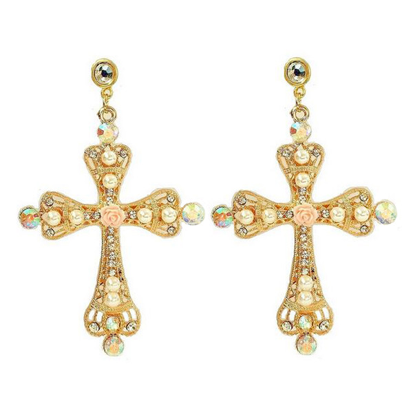 Byzantine Faux Mini Pearls Ornate Large Statement Cross Earrings Gold Tone Filled Rose Flower AB Crystal Deco Baroque color crystal Earrings