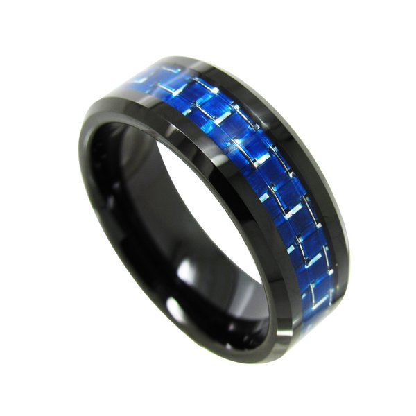 8mm Black Tungsten Carbide Ring beveled edges with white and blue carbon fiber inlay popular and fashion jewelry finger ring