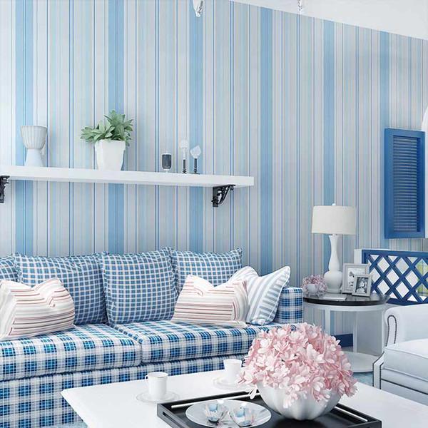 Großhandels- Mediterrane Stil Blau Rosa Vertikale Streifen Vliestapete Wandbild Jungen Und Mädchen Schlafzimmer Kinderzimmer Wand Papier Dekor