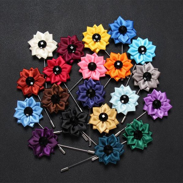 New Fashion Bowknot blue rhinestone flower Brooches Fabric Lapel Pin for Suits Men mini ribbon Brooch Pins Boutonniere Jewelry wedding gift