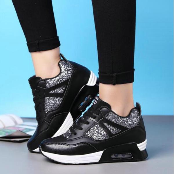 2017 zapatos de cuero hechos a mano marca de lujo Tenis Feminino mujeres zapatos casuales cesta Femme Air Superstar cuñas zapatos de plataforma zapatillas de deporte de las mujeres