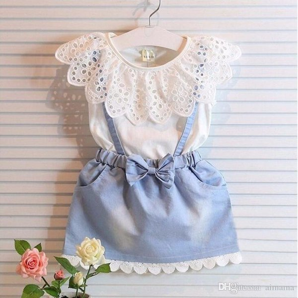 Blue Jeans Dress Summer Sleeveless Dress White T-Shirt Baby Girls Clothing Dresses Childrens Dresses For Kids Free Shippping