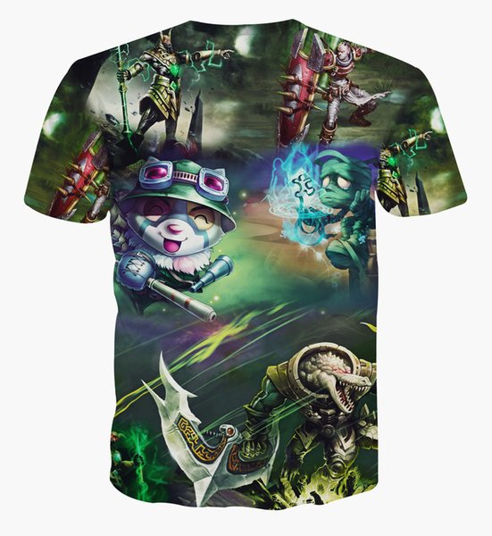 2018 Men and women explosions 3d printing League of legends heroic men and women short-sleeved T-shirt tees