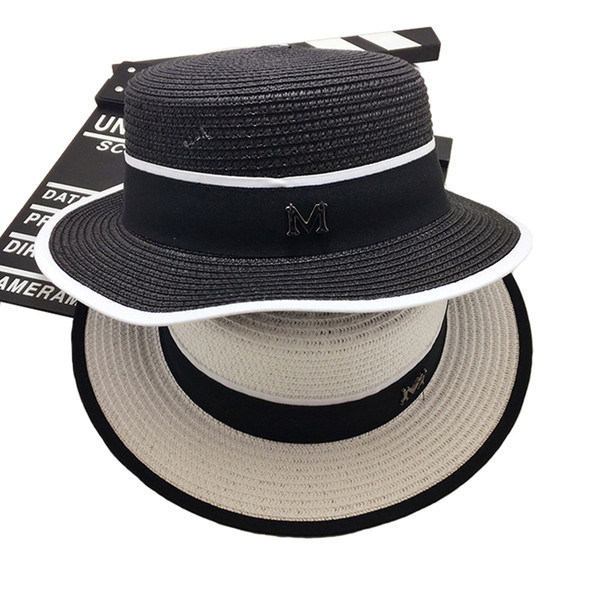 Wholesale- Fashion Cap Europa M Lettera Flat Top Small Sun Hat Visiera Summer Vacation Sun Beach Cappello Wide Brimmed Straw Hat Shading Floppy Cap