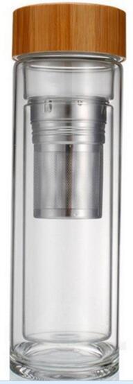 Bicchiere da 400ml Coperchio in bambù Bicchiere da tè a doppia parete. Include filtro e cestello per infusore