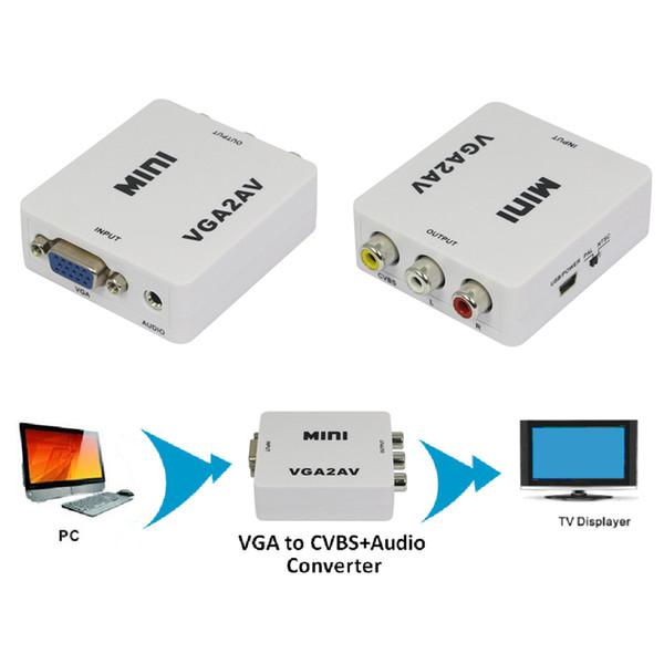 1pcs Mini Composite Video AV S-Video RCA to PC Laptop VGA TV Converter Adapter Box Connector New Promotion