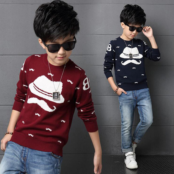 top popular 2019 Autumn Winter England Style New Kids boy Sweater Coat Children Clothing Baby Beard hat jacquard Cotton spring Boys Pullover 2-8y 2021
