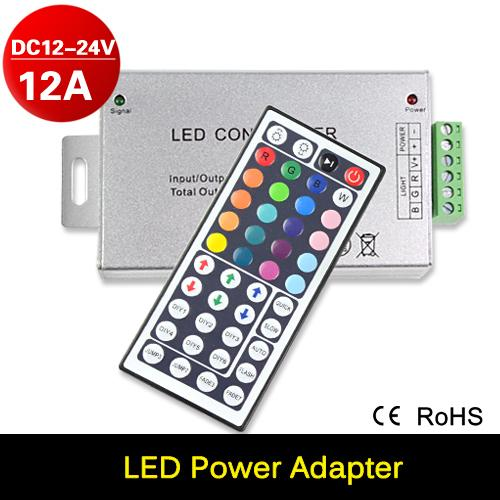 Free Shipping IR Remote RGB Controller DC12-24V 12A 44key Remote Controller for SMD 3528 5050 RGB LED Strip Lights