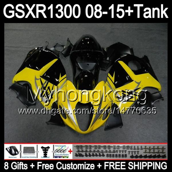 8gifts gloss yellow Pour SUZUKI Hayabusa GSXR1300 2008 2009 2010 2011 14MY141 GSXR-1300 GSX R1300 GSXR 1300 2012 2013 2014 2015 noir Carénage