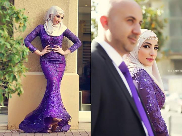 New Muslim Mermaid Arabic Evening Dresses High Neck Lace Appliques Purple Long Sleeves Prom Party Formal Said Mhamad Gowns Plus Size