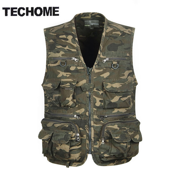Wholesale- TECHOME Multi Pocket Camouflage Vest Men Casual Travel Waistcoat Cotton Fish Sleeveless Jacket Camo Caza Vest Straight Clothes