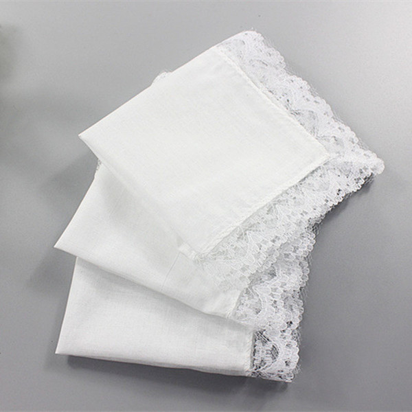 top popular White Lace Thin Handkerchief Woman Wedding Gifts Party Decoration Cloth Napkins Plain Blank DIY Handkerchief 25*25cm 2019