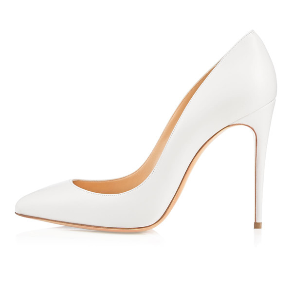 3f7c2d9646765d Karmran Women Handmade Fashion Bigalle Dollies Style 100MM New Arrival  Pointy High Heel Pumps Shoes White Z7036