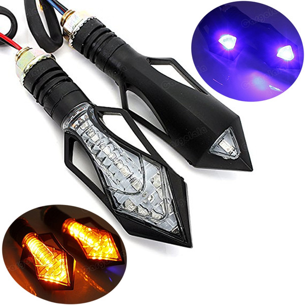 2x Universal New Motorcycle Bike 12V Ambra LED Indicatore di direzione Indicatore lampeggiante