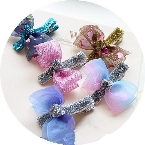 Wholesale 50pcs/lot Fashion Floral Gauze Hair Bow Baby Girls Hair Clips Solid Cute Glitter Bowknot Girls Hairpins Princess Hair Accessories