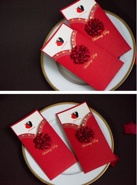 Red color European modern designs Wedding supplier wedding invitation wed card creative wedding invites DHL free shipping in good price
