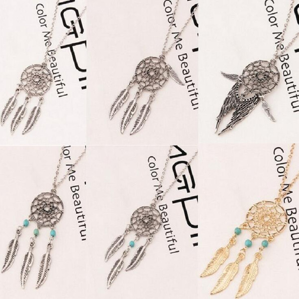 Free shipping Dream net necklace temperament feather pendant WFN430 (with chain) mix order 20 pieces a lot