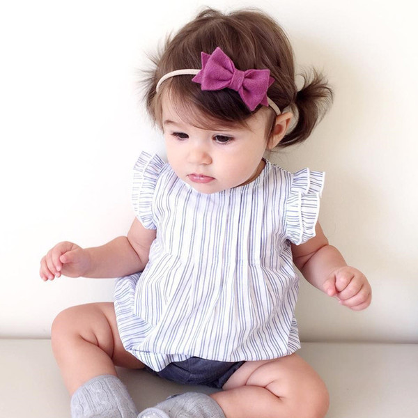 HUG ME girl lace fly sleeve T-shirt tops Baby Girls Floral Print Cotton Dress Fly Sleeve Back Love Sweet Toddler Baby striped Party Dresses