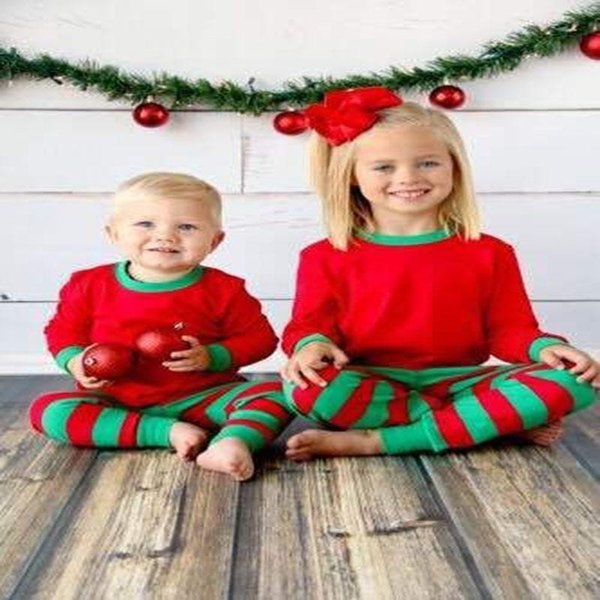 Boy Girl Christmas Pajamas Sets Children Cotton Stripe Long Sleeve + Pants 2pcs Suits Baby Clothes Home Clothing Sets
