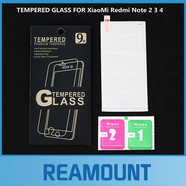 100 pcs 2.5d 9 h premium de vidro temperado para xiaomi redmi note 2 3 4 redmi 2 3 mi3 4 4c 4s 5 filme protetor de tela do telefone
