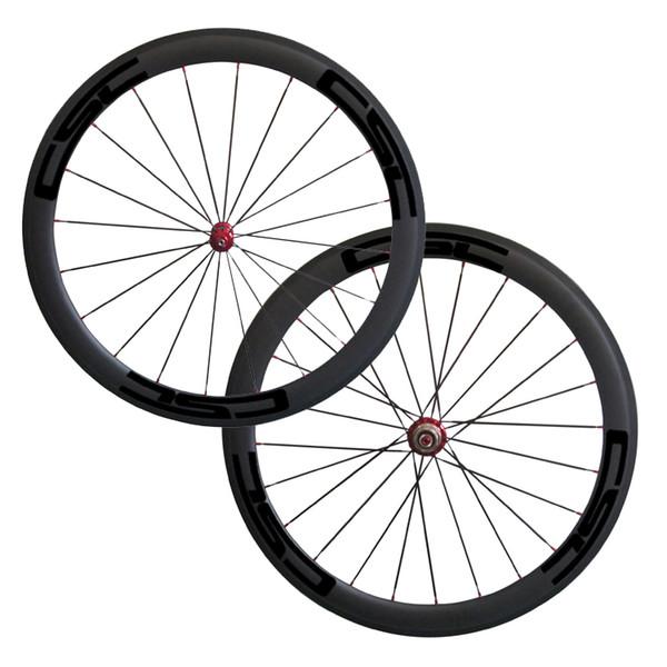 700C 50mm Drahtreifen Gerade Ziehen Powerway R36 Rot / Schwarz Nabe Wählen Sie Rennrad-Räder Carbon-Naben Vollcarbon CSC Rennrad-Fahrradräder