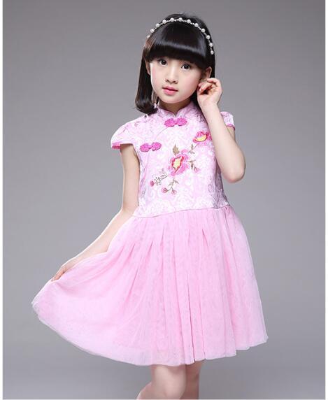 Moda infantil roupas estilo chinês gril de manga curta vestidos W17JS108