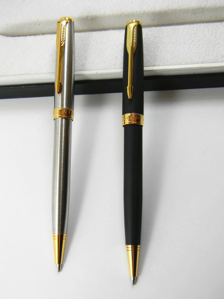 top popular 2pc metal Parker Sonnet Series With Golden Arrow Clip Ballpoint Pen +2 Ballpoint Pen Refill 2020