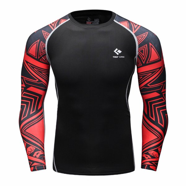 Wholesale- Muscle Men Compression Tight Skin Shirt Long Sleeves 3D Prints Rashguard Fitness Base Layer Weight Lifting Male Tops Wear