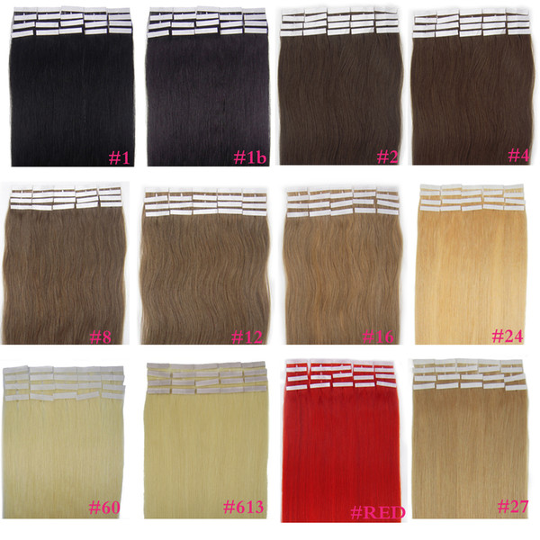 "ZZHAIR 16""-24"" Tape Remy Hair 100% Brazilian Human Hair Extensions 20pcs/pack Tape In Hair Skin Weft 30g-70g"