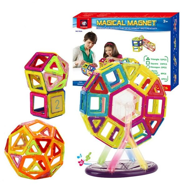 52 PCS Set Magnetic Building Blocks Kids Magnet Construction Toy Rainbow Color for Creativity Educational Children's Christmas Gift wit