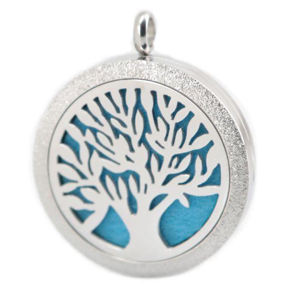 Matt Tree of Life Collana In Acciaio Inox Pendenti Aroma 30mm Locket Diffusore Essenziale Oli Medaglioni Gratuiti 50 pz Feltri come Regalo