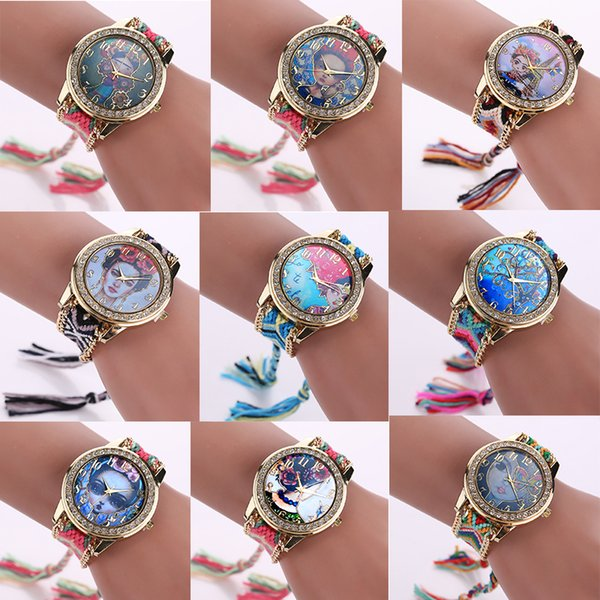 21 Styles 14Colors Luxury Lady Frida kahlo Watch Fashion Hand-made Braided Quartz Wristwatch Women Bracelet Watches Free Shipping