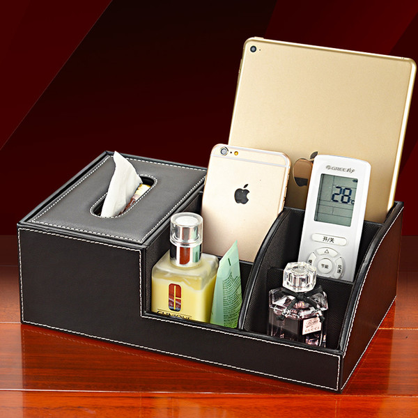 best selling Wholesale- Creative PU Leather Tissue Box Cover Draw Paper Multifunction Remote Control Pen Pencil Holder Remote Control Desk Organizer