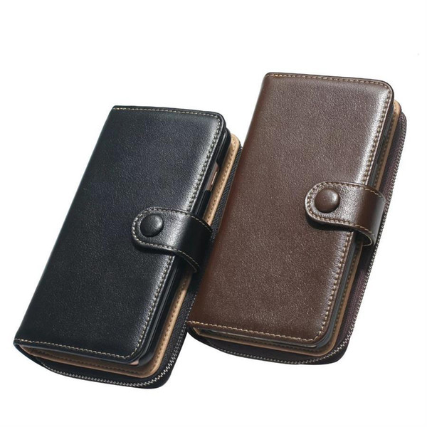 Genuine Leather Wallet Zipper Phone Cases Stand Wallet Folded with Card Slot cover For iPhone 7 6S 6 (4.7&5.5)