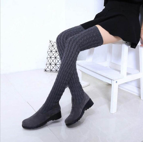 2017 Fashion Knitted Women Knee High Boots Elastic Slim Autumn Winter Warm Long Thigh High Boots Woman Shoes