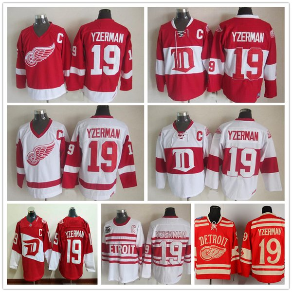... Throwback Detroit Red Wings 19 Steve Yzerman Hockey Jerseys Vintage  Home Red White Winter Classic ... 8ddd3014f