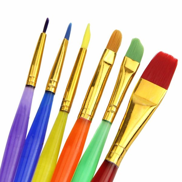 Wholesale- 6PCS Colorful DIY Pennelli per dipingere giocattoli Art Artist Supplies For Kids Girls Child