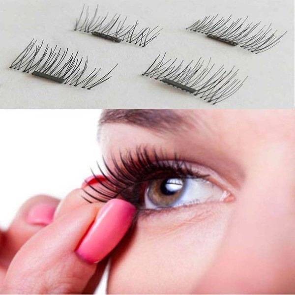 Magnetic false eyelash 1 Pair/ 4Pcs 3D Magnetic False Eyelashes Natural Soft Makeup Beauty Tools Accessories